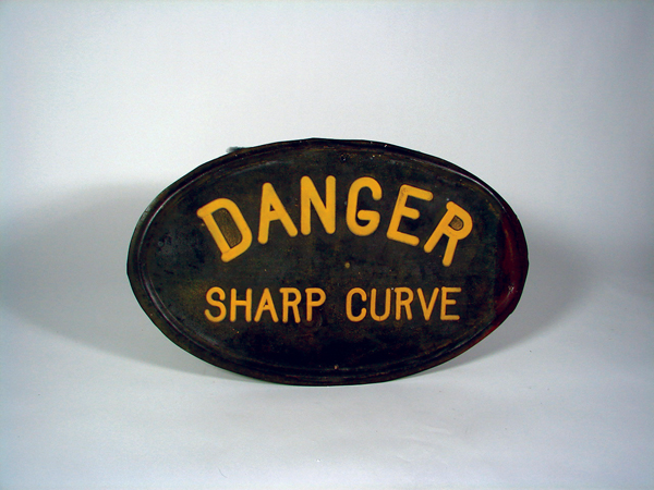 Very early cast iron Danger Sharp Curve road sign. - Front 3/4 - 72454