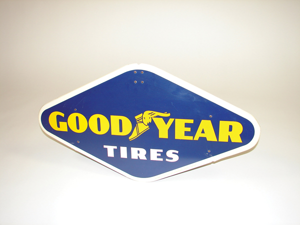 1950s Goodyear Tires single-sided tin garage sign. Condition: 9.25+ - Front 3/4 - 72463