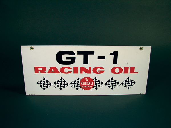 N.O.S. Kendall GT-1 Racing Oil double-sided tin garage sign. - Front 3/4 - 72465