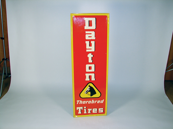 1953 Dayton Thorobred Tires single-sided vertical tin garage sign. - Front 3/4 - 72468