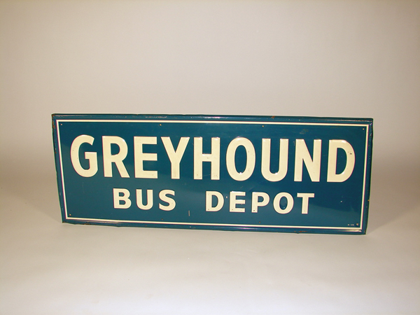 Unusual 1940s Greyhound Bus Depot single-sided tin sign. - Front 3/4 - 72471