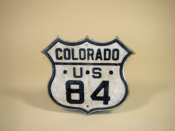 1940s Colorado U.S. 84 Highway Sign with early reflective paint. - Front 3/4 - 72477
