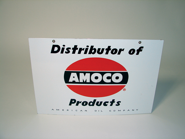 "N.OS. 1950s Amoco ""Distributors"" double-sided porcelain service station sign. - Front 3/4 - 72479"