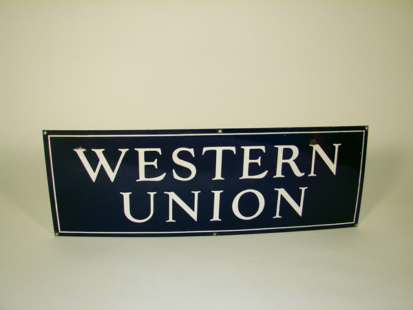 1930s Western Union Telegraph single-sided porcelain sign.  Condition: 9.25+ - Front 3/4 - 72482
