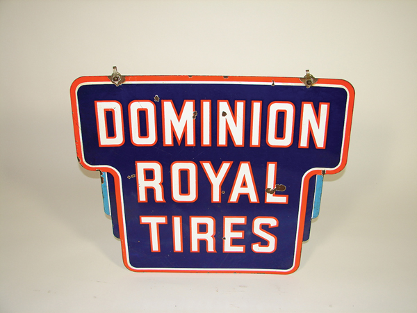 1930s Dominion Royal Tires double-sided porcelain garage sign. - Front 3/4 - 72486