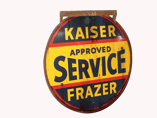 1940s Kaiser Frazer Approved Service double-sided porcelain garage sign. - Front 3/4 - 72488