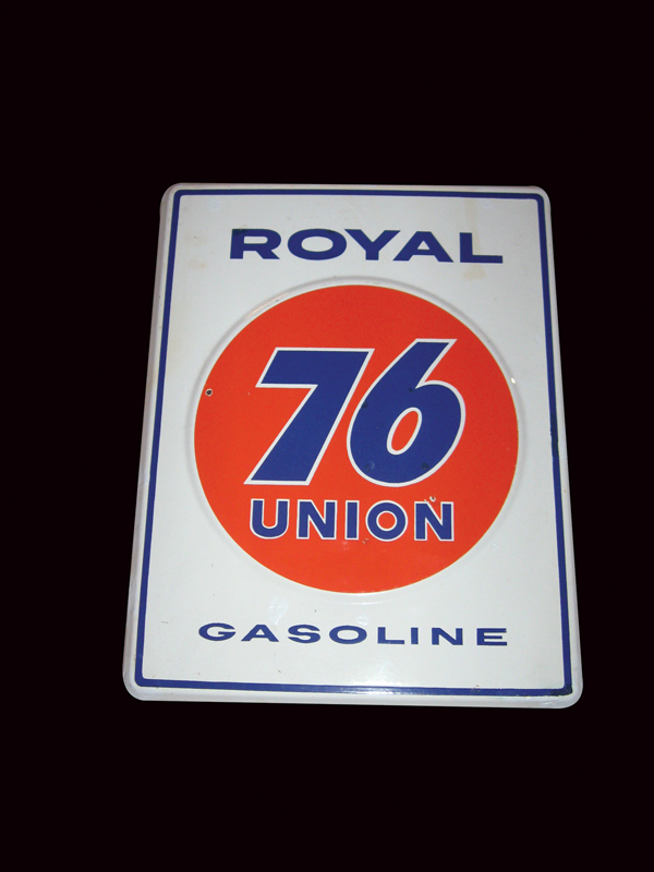N.O.S. 1950s Union 76 Royal gasoline single-sided porcelain pump plate sign. - Front 3/4 - 72490