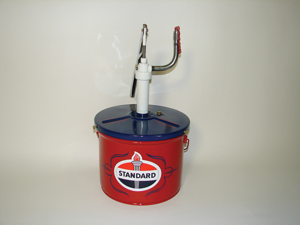 1940s  Standard Oil 3 gallon bulk grease dispenser by Lincoln Mfg.  Professionally restored to new condition. - Front 3/4 - 72514
