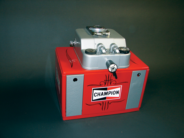 Restored 1950s Champion Spark Plugs service station plug cleaner. - Front 3/4 - 72517