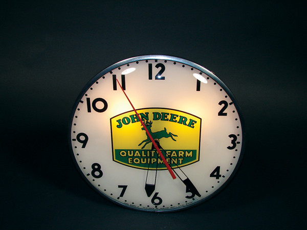 Scarce late 40s-early 50s John Deere light-up clock by Telechron. - Front 3/4 - 72518