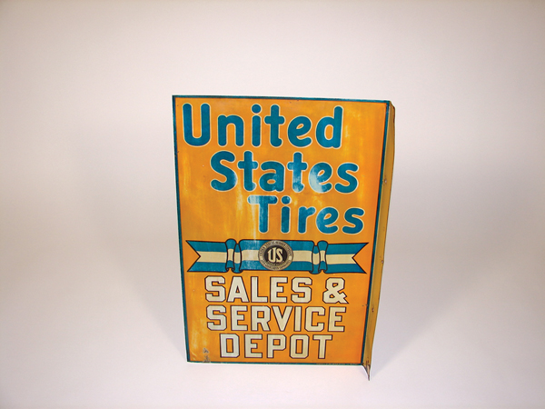 Worthy of bragging rights 1920s United States Tires dbl-sided tin flange sign - Front 3/4 - 72520
