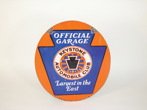 Unusual 1930s Keystone Automobile Club double-sided porcelain garage sign. - Front 3/4 - 72524