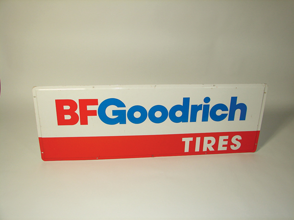 Immensely clean N.O.S. 1960s BF Goodrich Tires tin garage sign. - Front 3/4 - 72526