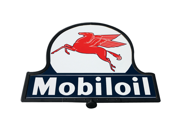 Immensely clean 1930s-40s Mobil Oil double-sided porcelain curb sign with Pegasus logo. - Front 3/4 - 72529