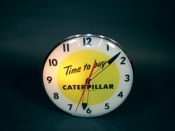 Scarce 1950s Caterpillar glass faced light-up clock. - Front 3/4 - 72530