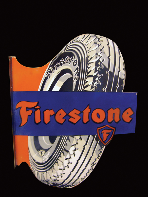 Choice 1940s Firestone Tires double-sided porcelain over-sized porcelain garage flange with tire graphic. - Front 3/4 - 72533