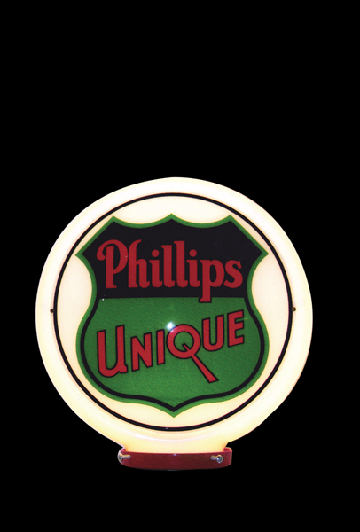 Near Flawless 1930s Phillips Unique Gasoline glass bodied gas pump globe. - Front 3/4 - 72539
