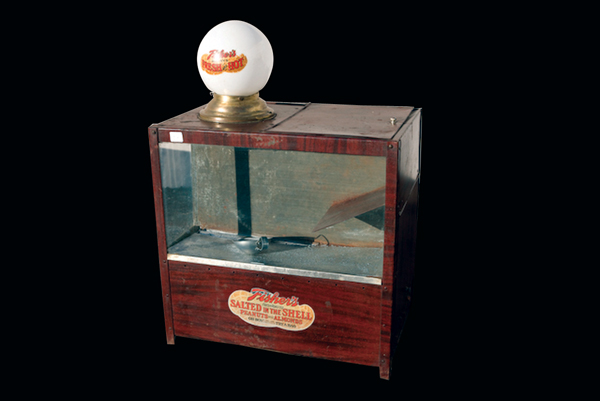 Choice 1920s-30s Fisher Hot Nut counter-top display cabinet with lighted globe. - Front 3/4 - 72545