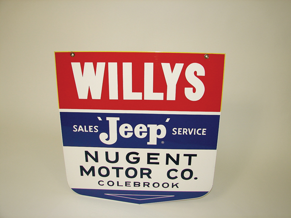 Elusive N.O.S. 1950s Willys Sales-Service Jeep double-sided tin dealership sign. - Front 3/4 - 72688