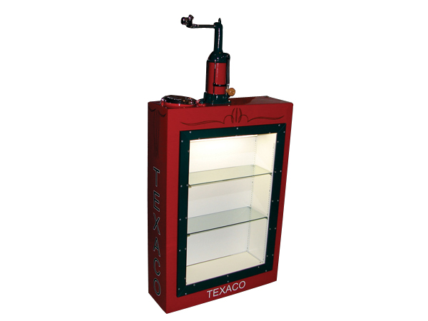 Fabulous 1930s Texaco Motor Oil 50 gallon station lubester cleverly restored into a lit display case with glass shelves. - Front 3/4 - 73222