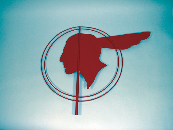 "1940s-50s Pontiac Dealership drive-way entrance ""whirly"" sign. - Front 3/4 - 73233"