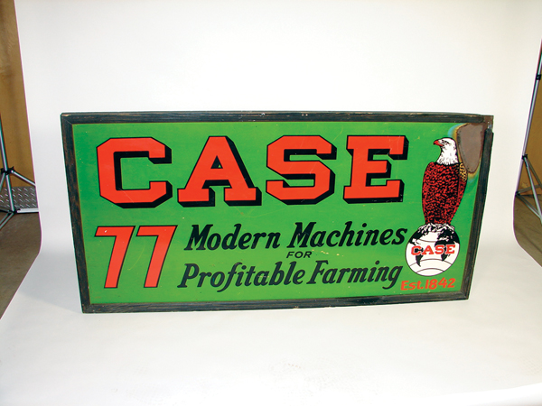 "Rare 1930s Case 77 ""Modern Machines for Profitable Farming"" single-sided wood framed dealership sign. - Front 3/4 - 73260"