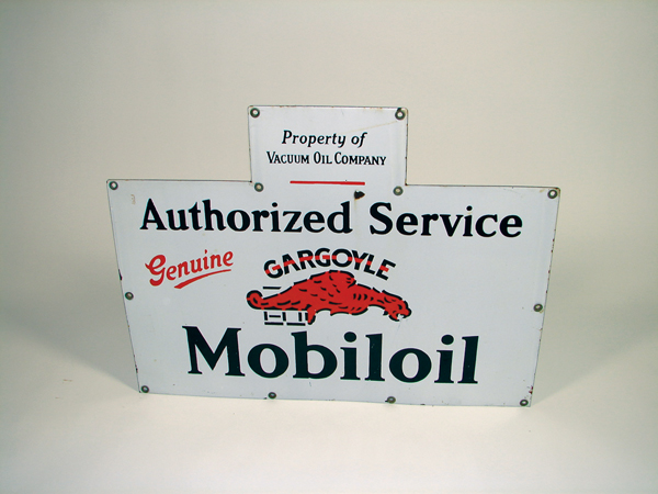 "N.O.S. 1930s Gargoyle ""Mobil"" Oil single-sided porcelain station sign.  Very clean! - Front 3/4 - 73261"