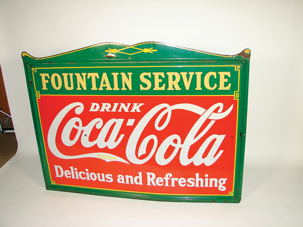 "Stylish 1936 Coca-Cola ""Fountain Service"" self-framed porcelain soda fountain sign. - Front 3/4 - 73262"