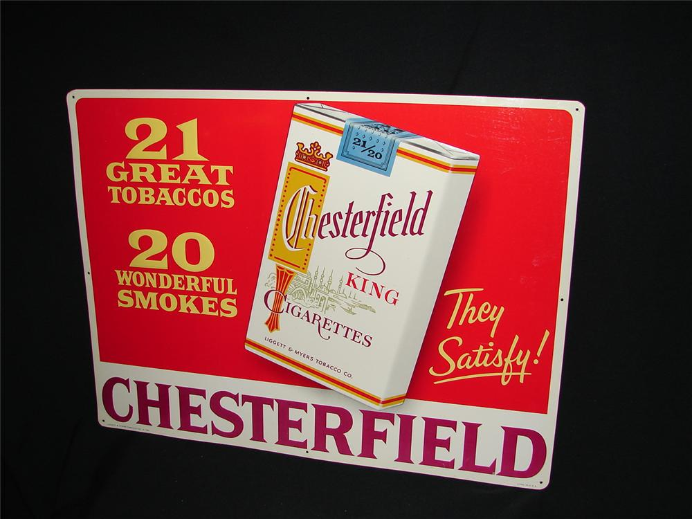 N.O.S. 1940s Chesterfield Cigarettes tin general store sign. - Front 3/4 - 73450