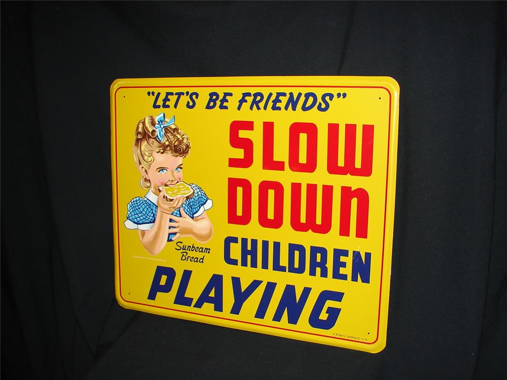 """N.O.S. 1959 Sunbeam Bread """"Slow Down""""  school zone tin sign. - Front 3/4 - 73451"""