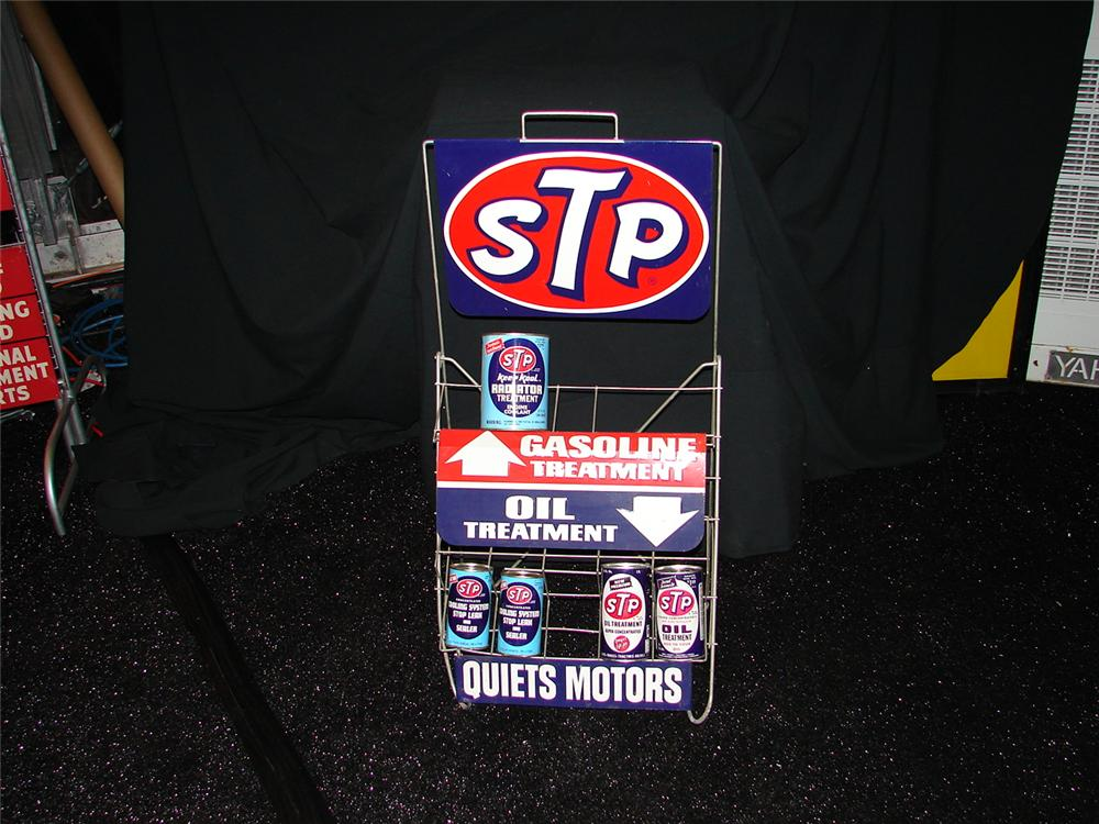 Very clean 1950s-60s  STP Motor Oil rack with original cans. - Front 3/4 - 73458