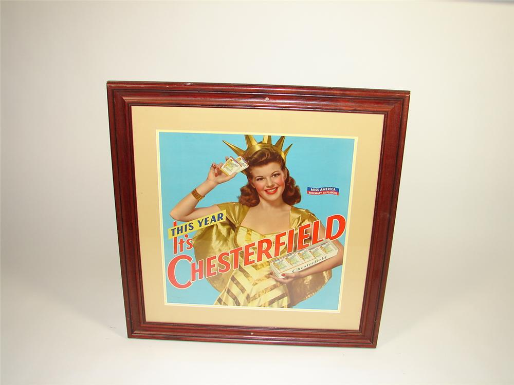 1950s N.O.S. Chesterfield Cigarettes cardboard display sign featuring Miss America. - Front 3/4 - 73473