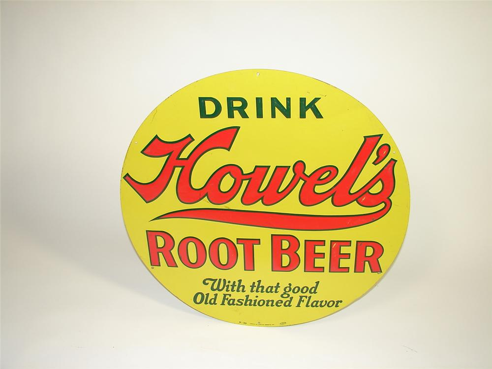 Spectacular N.O.S. 1930s Howels Root Beer die-cut tin embossed general store sign. - Front 3/4 - 73476