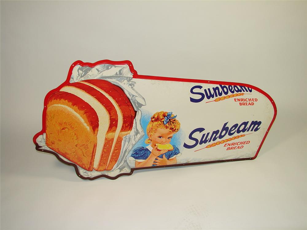 Scarce 1940s-50s Sunbeam Bread large die-cut tin store sign. - Front 3/4 - 73477