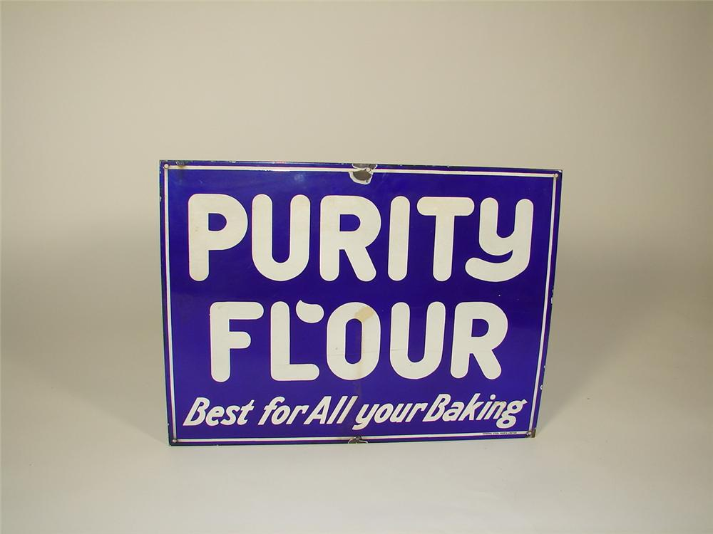 1930s Purity Flour single-sided porcelain general store sign. - Front 3/4 - 73479