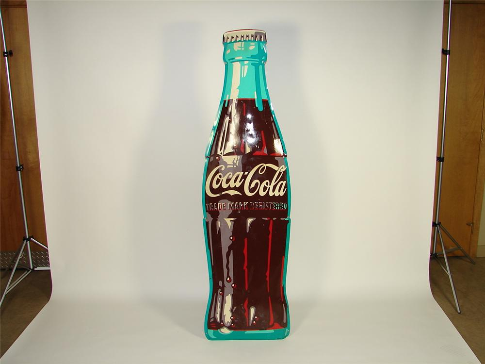 Hard to find 1950s Coca-Cola concave die-cut tin bottle sign. - Front 3/4 - 73483