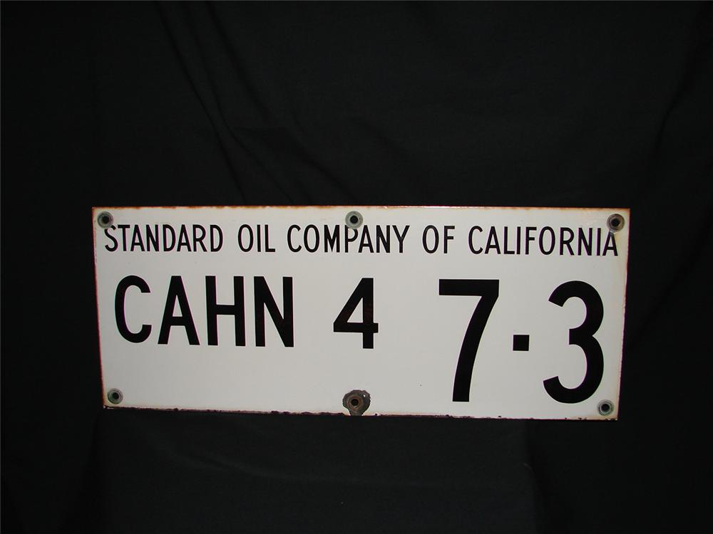 1950s Standard Oil of California oil well porcelain sign - Front 3/4 - 73484