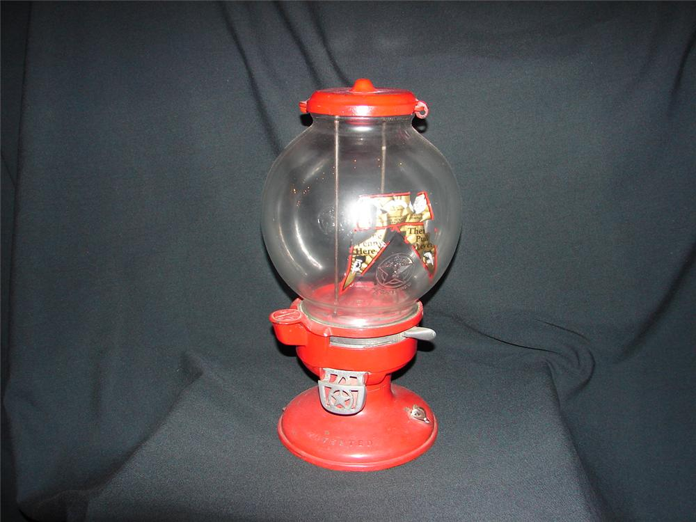 1930s Columbus one cent counter-top general store gumball machine. - Front 3/4 - 73486