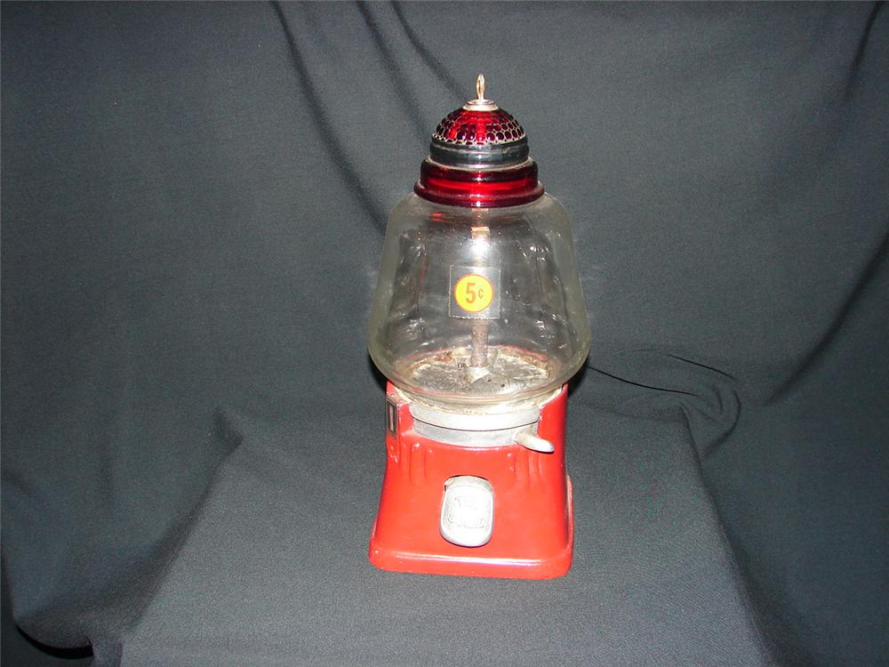 1940s Silver King Hot Nut peanut machine with glass dome. - Front 3/4 - 73487