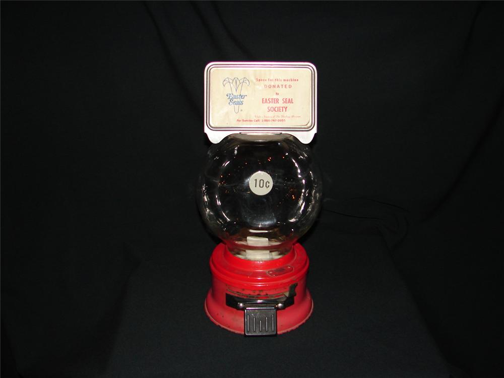 Unusual 1950s gumball machine with glass dome and advertising marquee attached. - Front 3/4 - 73491
