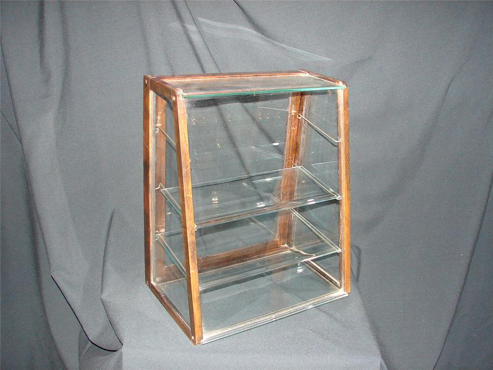Neat 1920s counter-top triple shelf display cabinet. - Front 3/4 - 73495