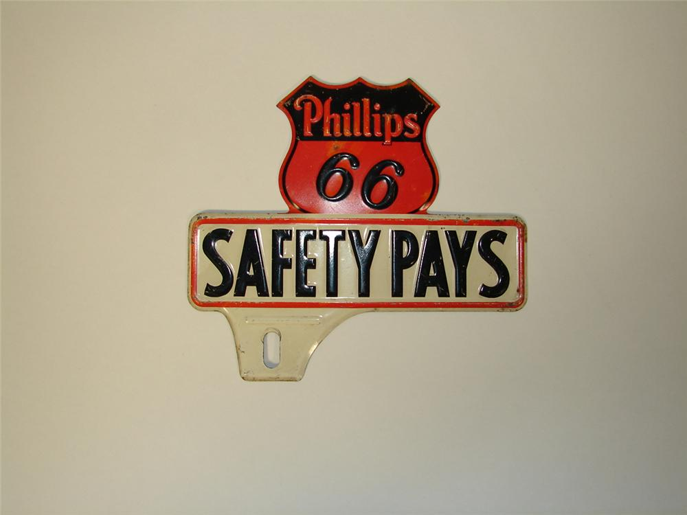 Phillips 66 Safety Pays license plate attachment sign. - Front 3/4 - 73500