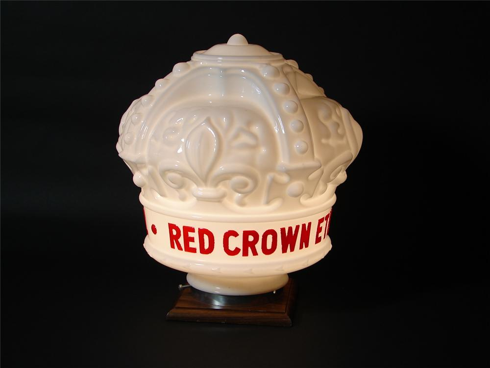 Rare Red Crown Ethyl one-piece milk glass globe. Condition: Near Perfect. - Front 3/4 - 73509