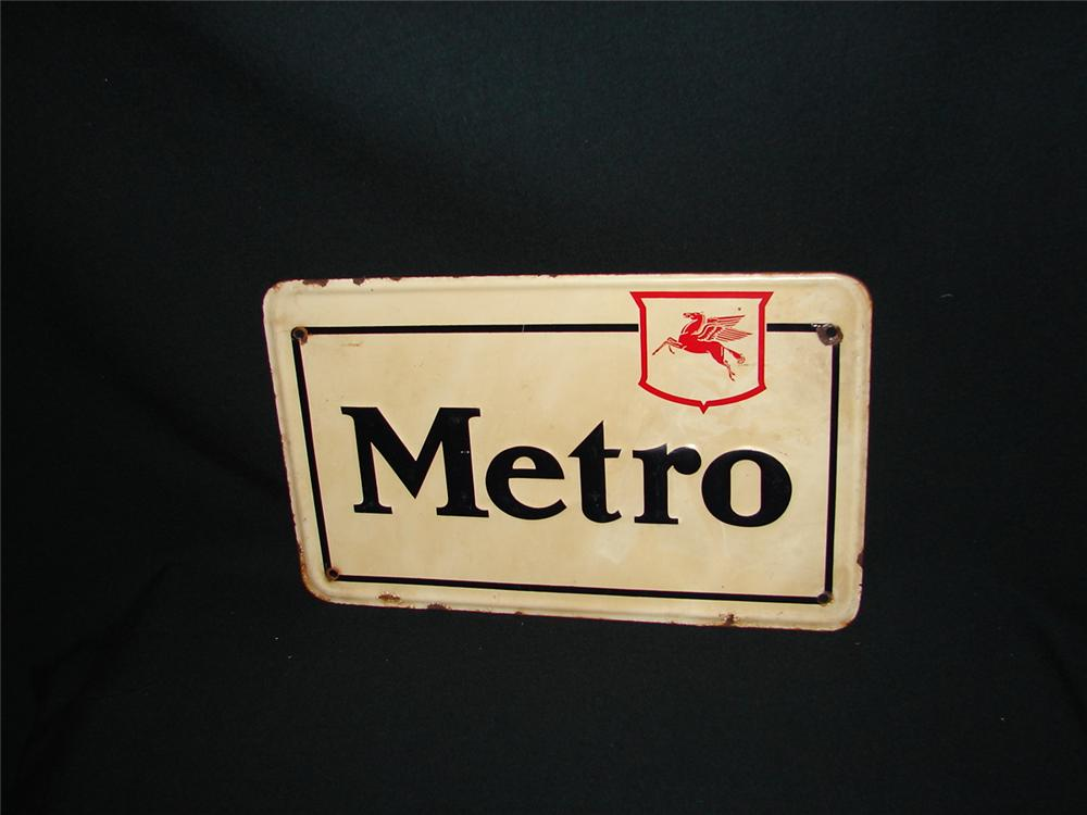 1940s Mobil Metro tin painted pump plate sign - Front 3/4 - 73884