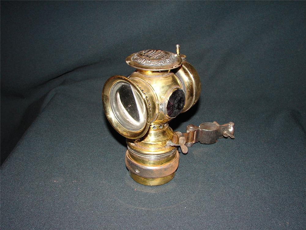 Early Badger Brass Company Solar Automobile brass head lamp with jeweled eyes. - Front 3/4 - 73895