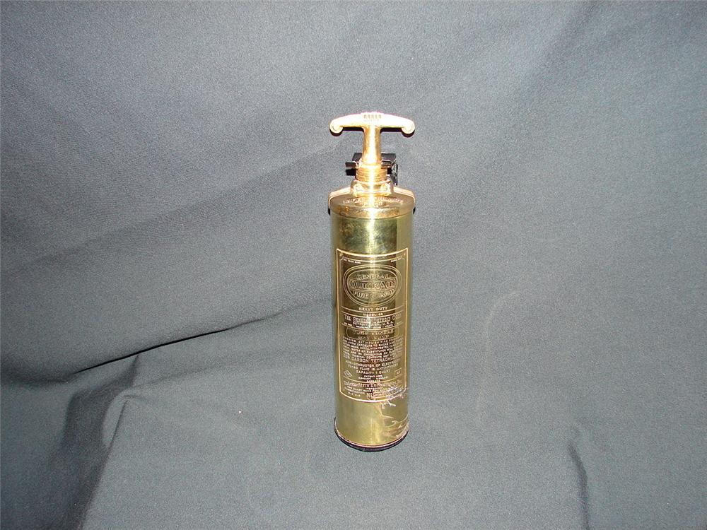 Early Quick Aid brass fire extinguisher by General Detroit. - Front 3/4 - 73896