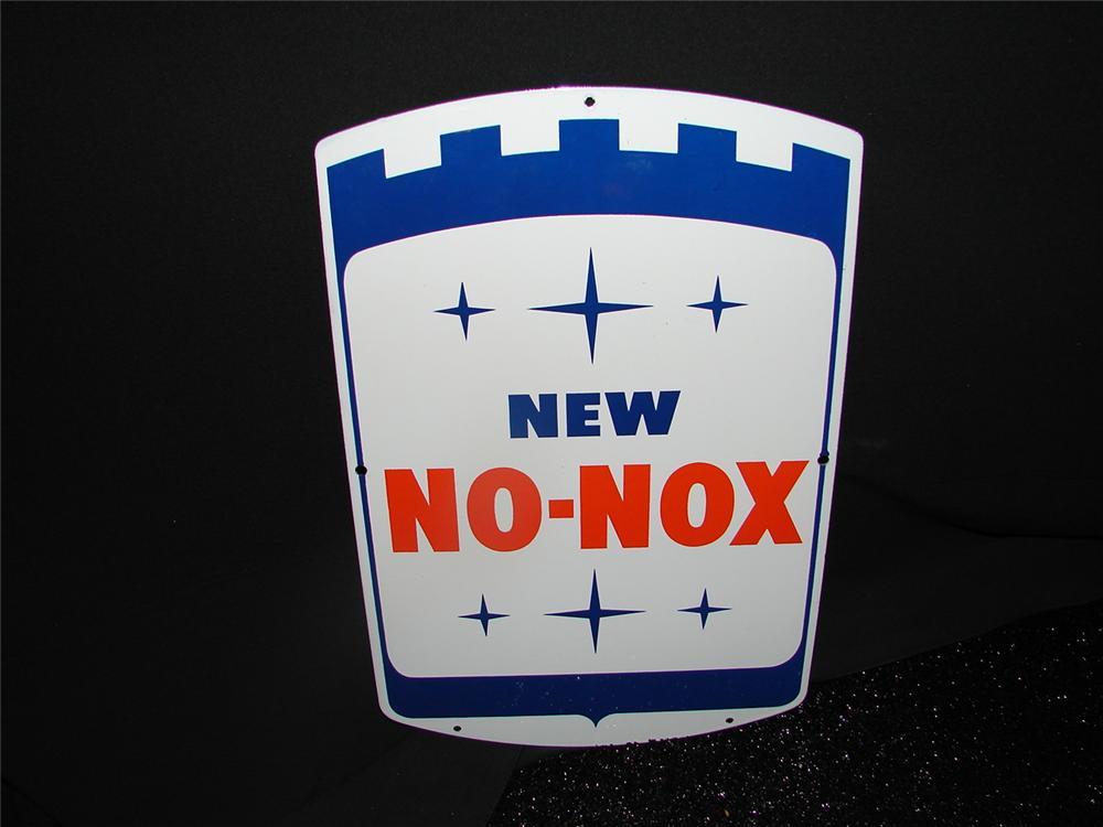 N.O.S. late 50s-60 s Gulf New No-Nox porcelain pump plate sign.  Condition: Near Mint - Front 3/4 - 73902