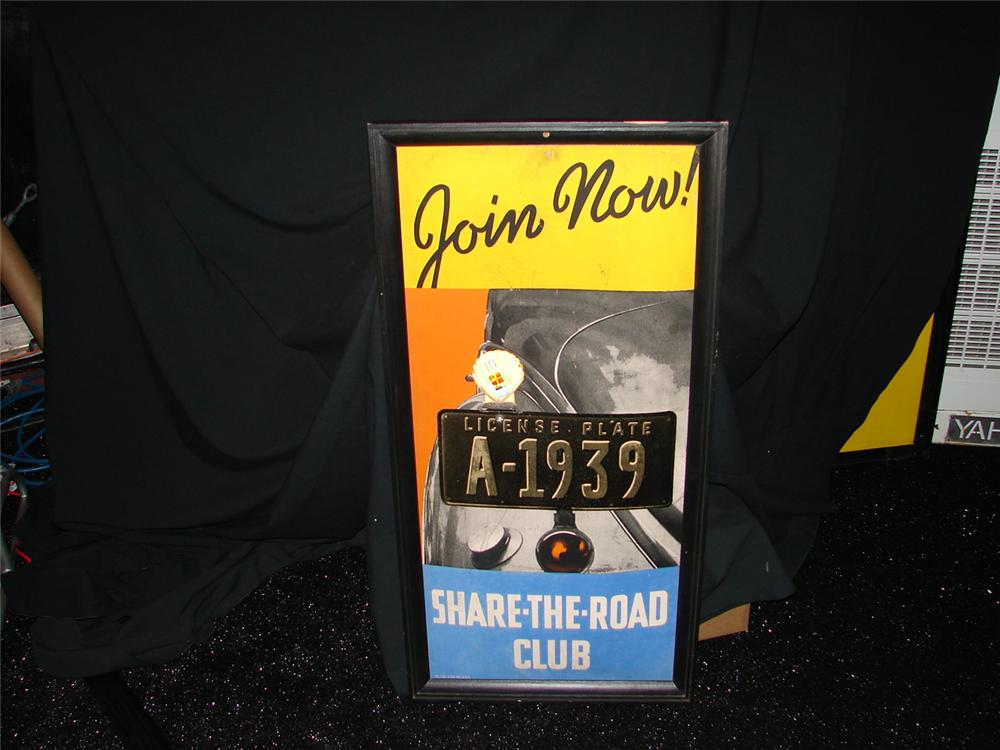 "1930s Shell ""Share the Road"" service station display cardboard with original license plate sign attached. - Front 3/4 - 73909"