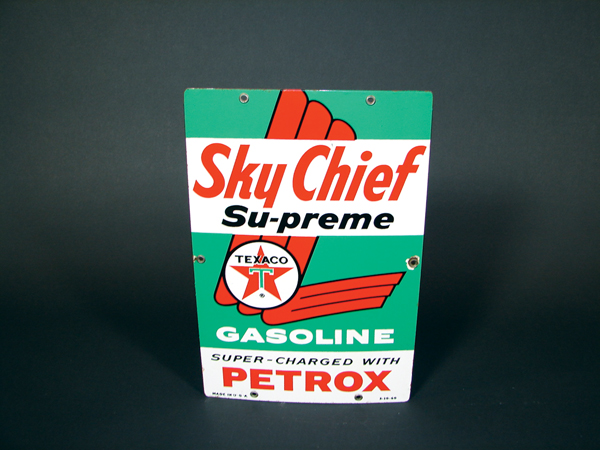 Sharp 1960 Texaco Sky Chief Supreme porcelain pump plate sign.  Smaller version. - Front 3/4 - 74057