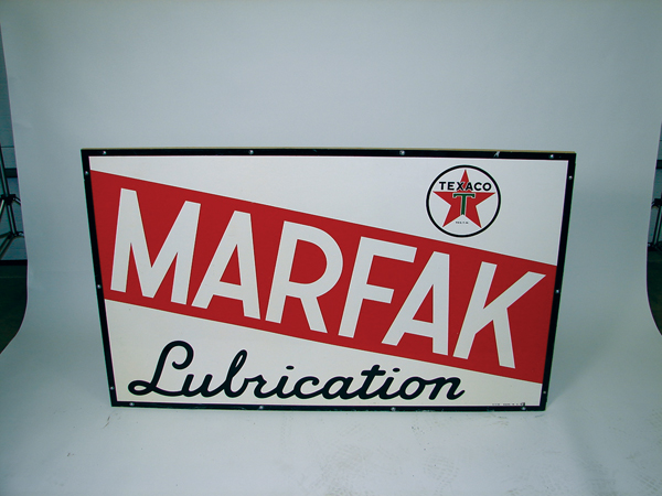 Large 1955 Texaco Marfak Lubrication service station tin sign with wood frame Very clean! - Front 3/4 - 74060